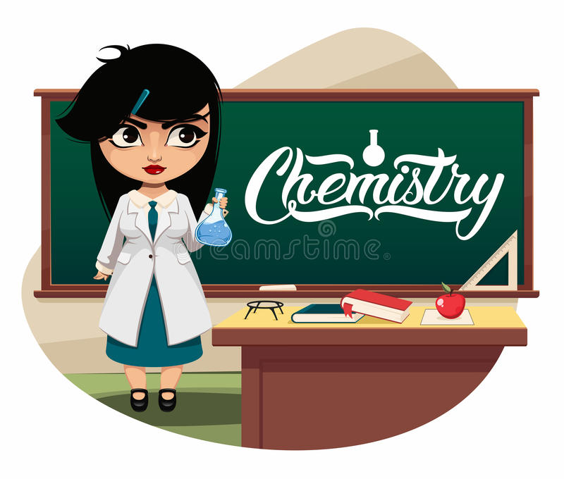 Girl scientist. In white coat inspecting flask in classroom stock illustration