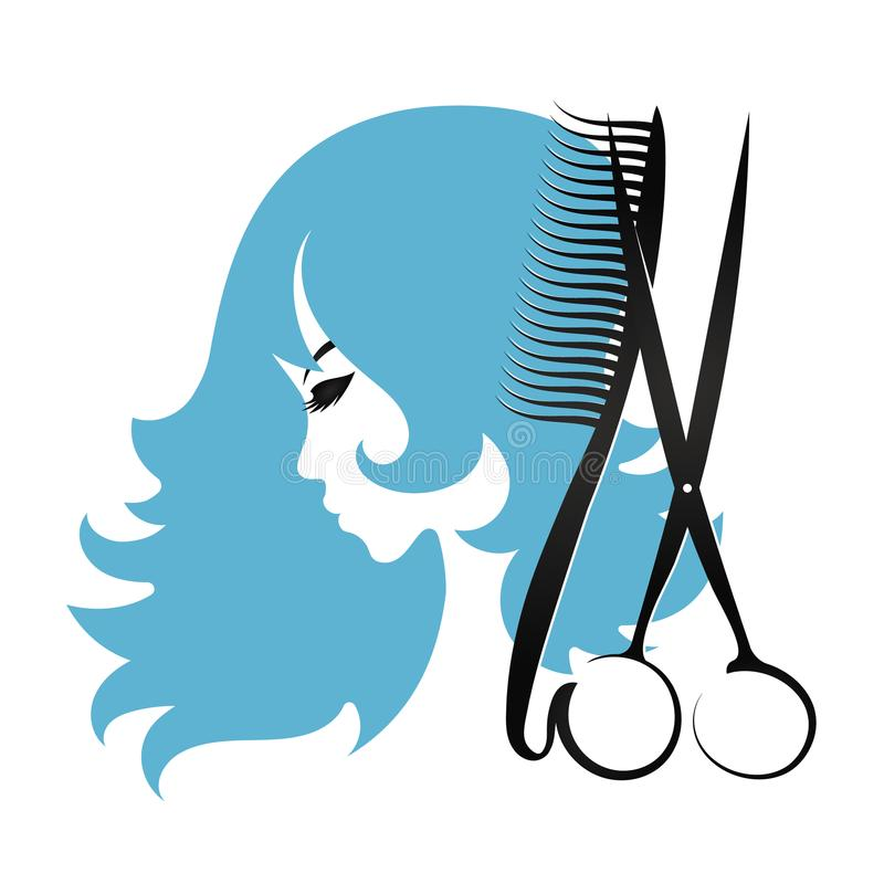 Girl and scissors. With curls of hair design vector illustration