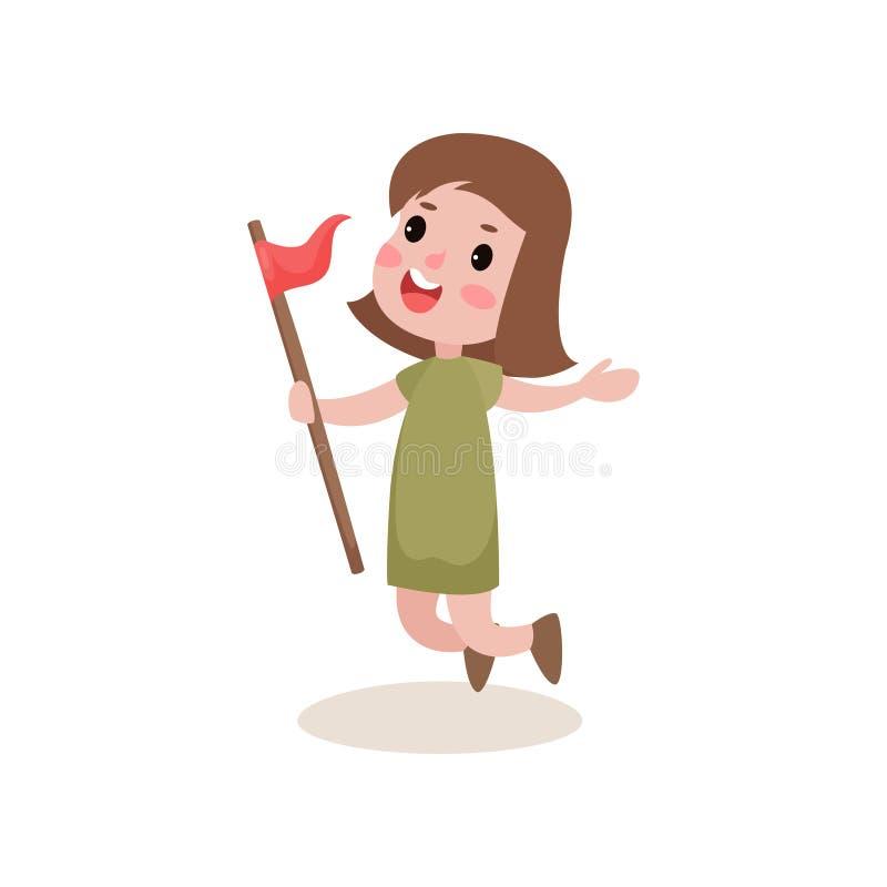 Girl-scout allegro piano che salta con la bandiera rossa a disposizione, attività del campeggio estivo illustrazione vettoriale