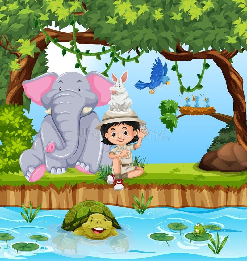 Girl-scout con gli animali in più forrest illustrazione di stock