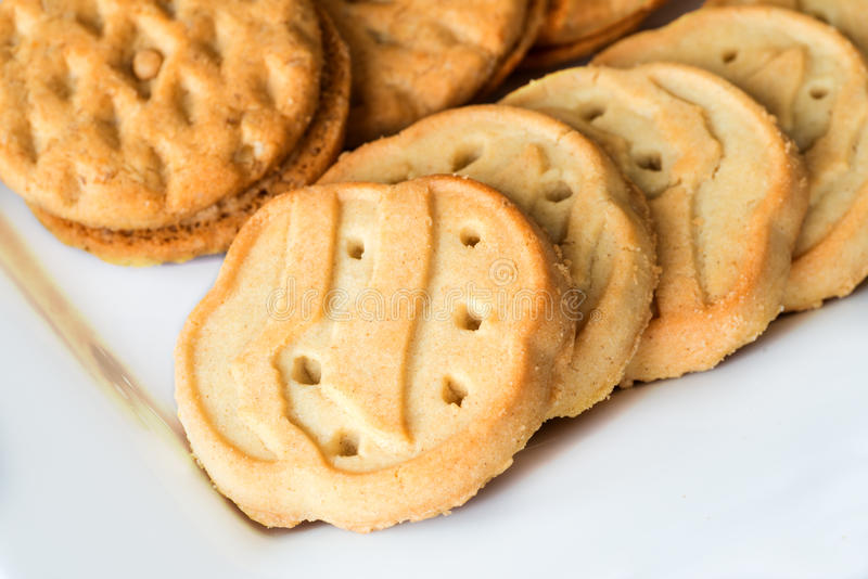 Girl Scout cookies. Close up of Girl Scout cookies stock photography