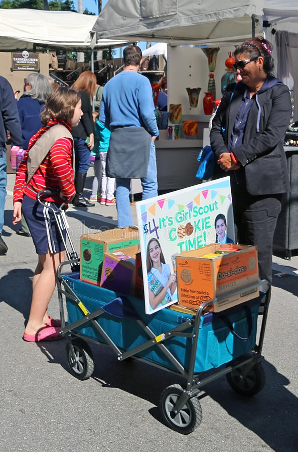 Girl Scout Cookies Sale stock image