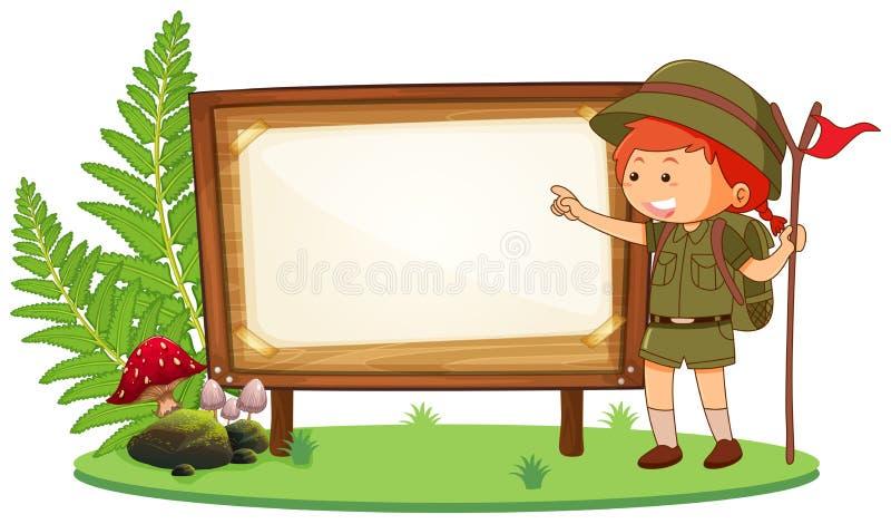 Girl scout en bandera en blanco ilustración del vector