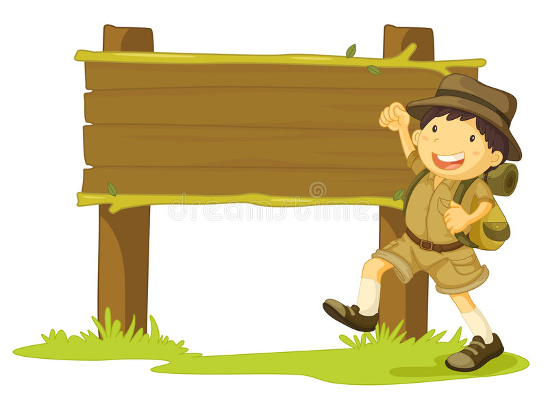 Girl scout and sign vector illustration