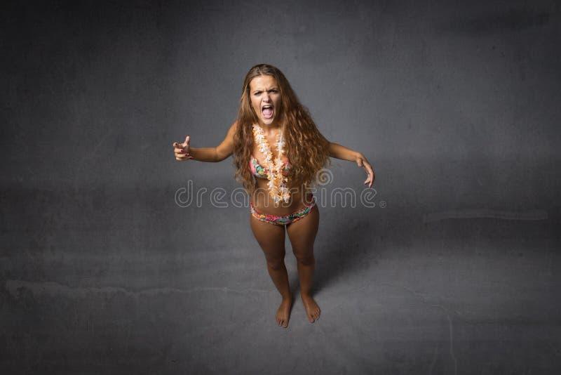 Girl screaming royalty free stock image