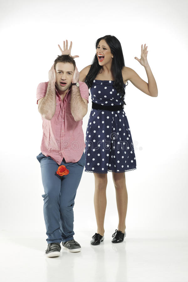Girl Screaming At Her Boyfriend Royalty Free Stock Photo