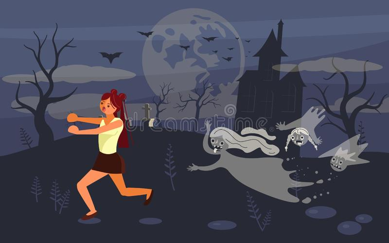 Girl screaming in horror and running away royalty free illustration