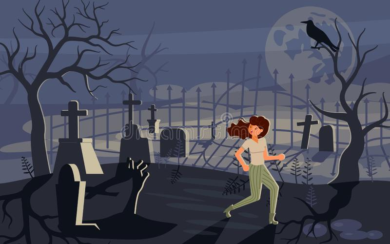 Girl screaming in horror and running away from the zombie stock illustration