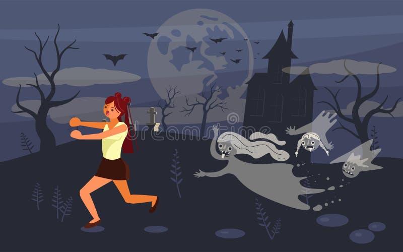 Girl screaming in horror and running away vector illustration
