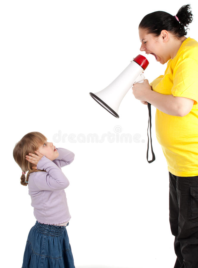 Girl and screaming mother with megaphone