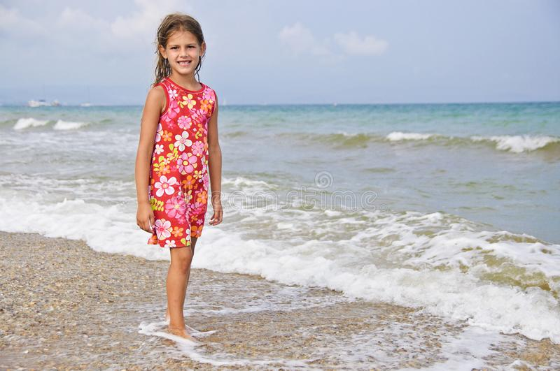 Girl and the sea. royalty free stock photography