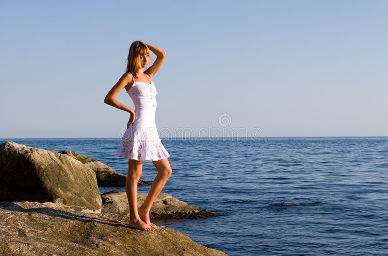 Girl and sea stock photos