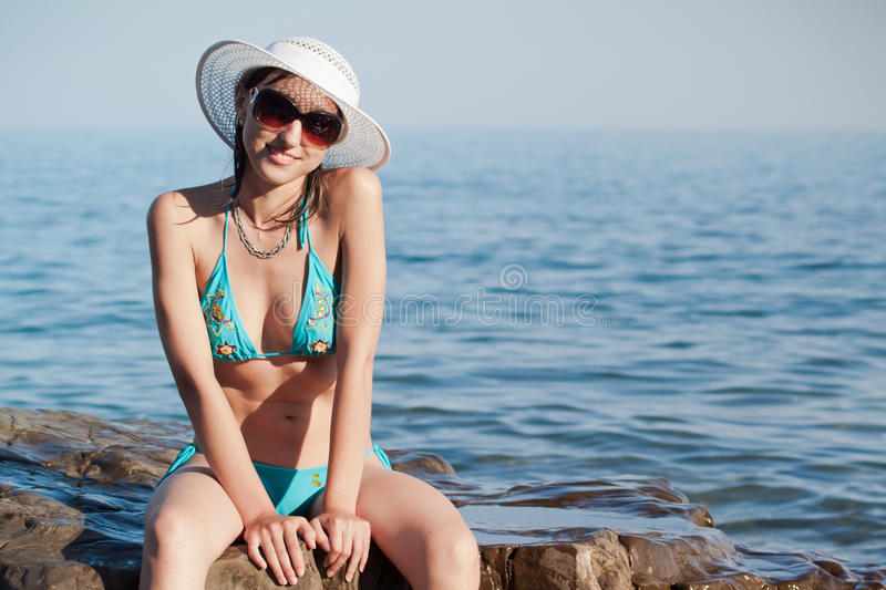 Download Girl and the Sea stock photo. Image of beauty, sitting - 26066698