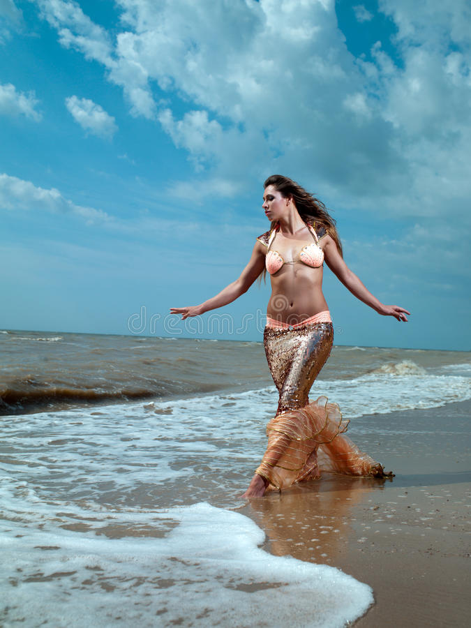 Girl on the sea royalty free stock photography