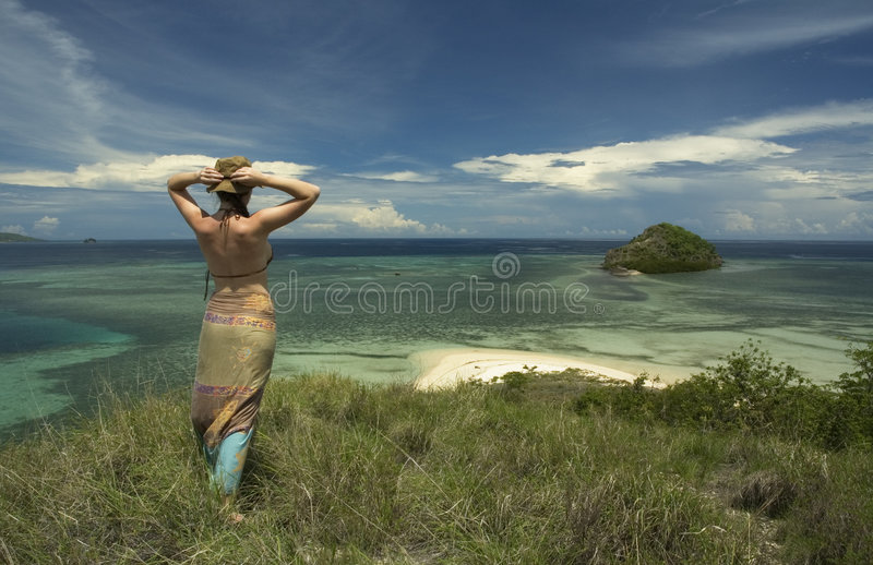 Girl and the sea royalty free stock images