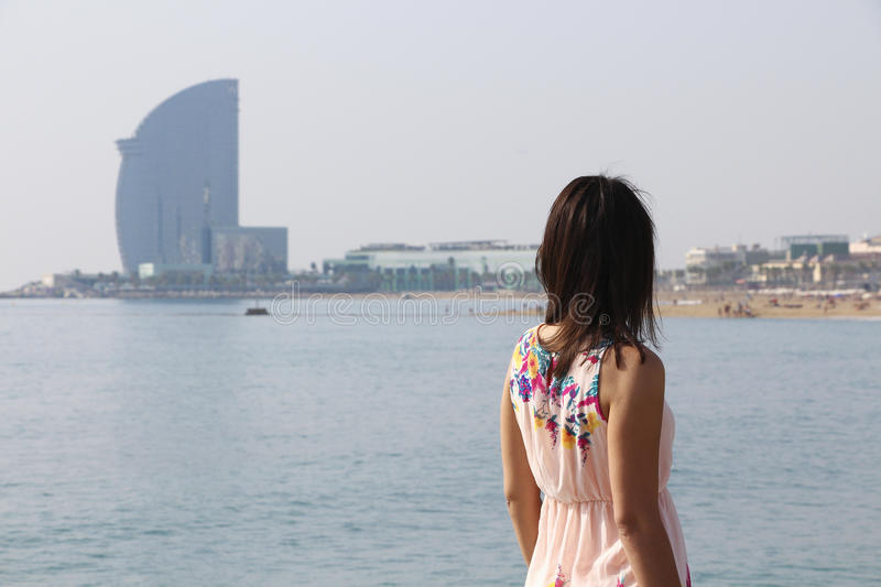 Girl. Sea. Beach. Barcelona royalty free stock photos