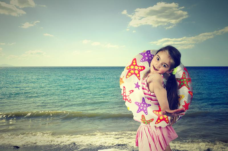 Girl, sea, circle, summer, child stock images