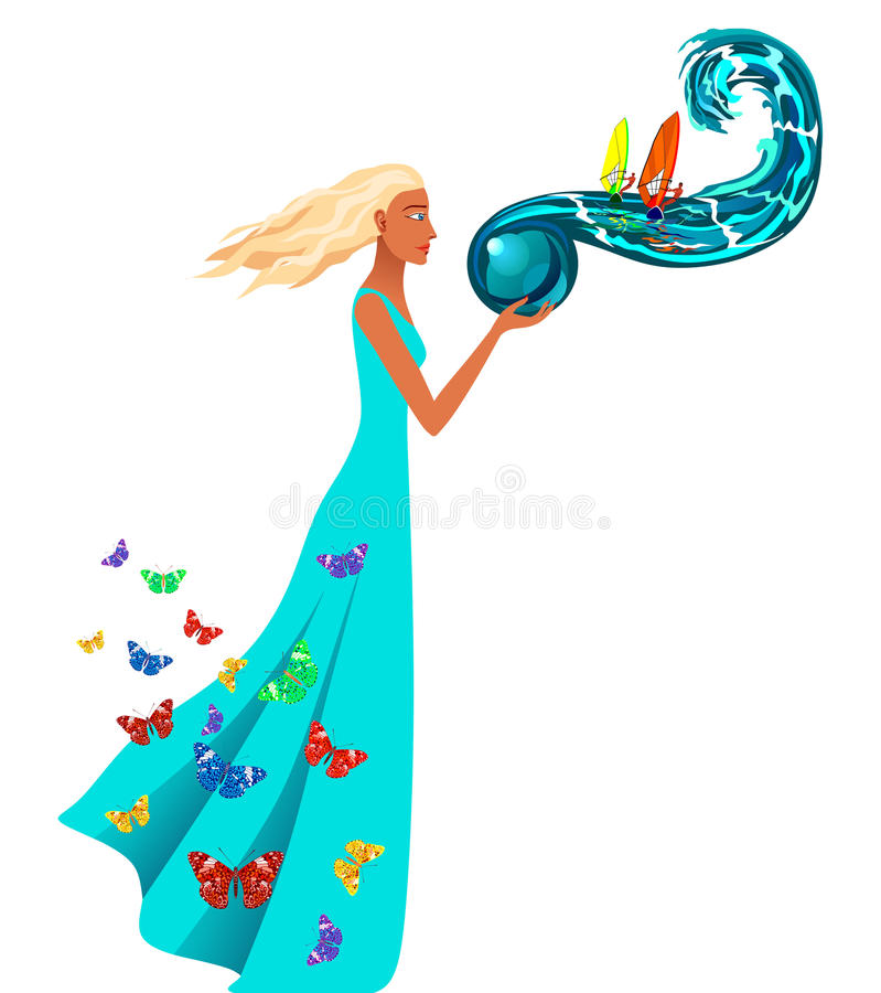 Girl and the sea. The girl is holding a sea royalty free illustration