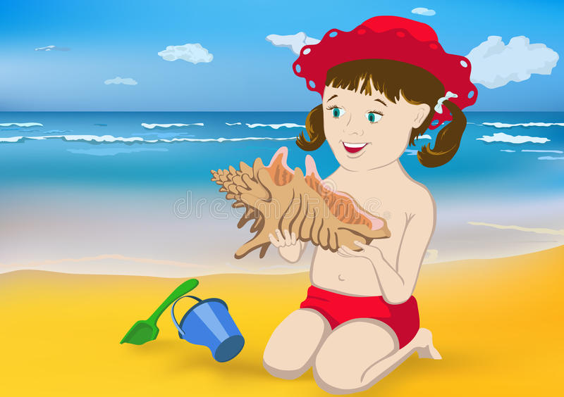 Download Girl, Sea And A Shell Stock Photography - Image: 20127402