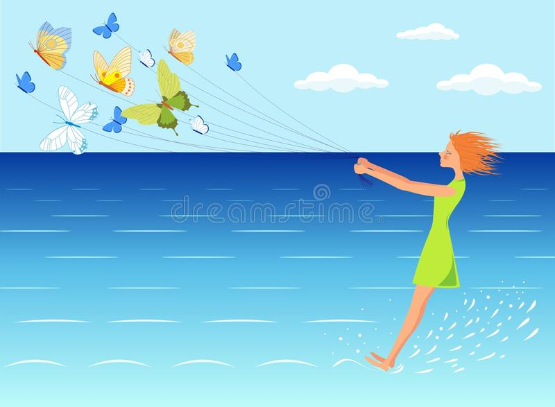 Download Girl on the sea stock vector. Illustration of girl, blue - 36422298