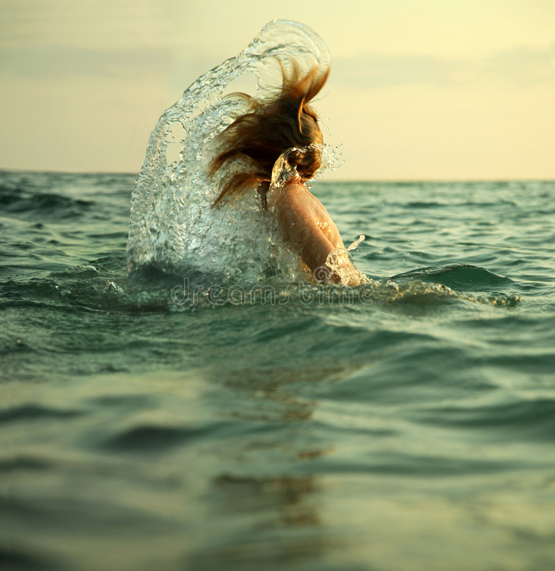 Girl In Sea Waves Royalty Free Stock Image
