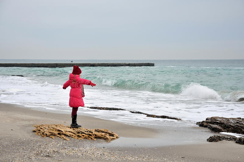 Girl and sea stock photography