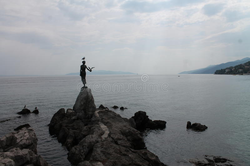 Girl with a seagull royalty free stock images