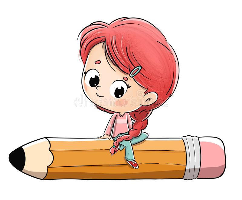 Girl seated in big pencil. She has a braid and red hair. stock photo