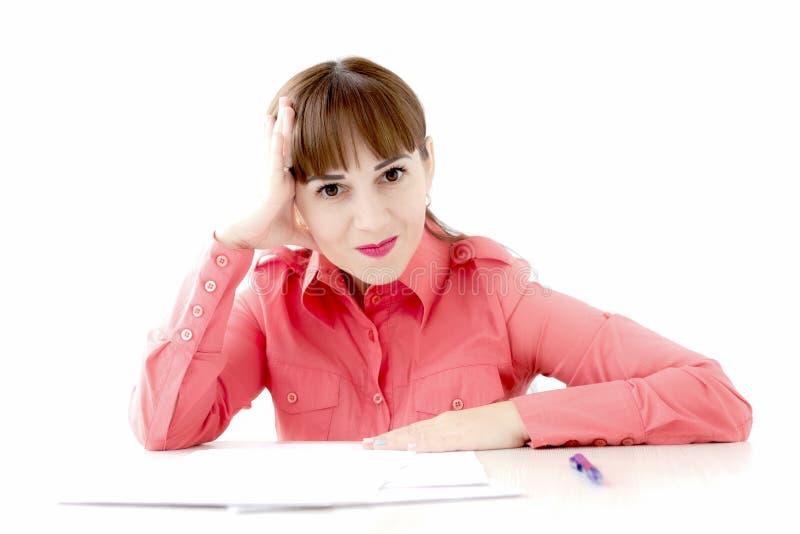 Secretary Sitting On Desk Reading Documents Seduction Stock Image