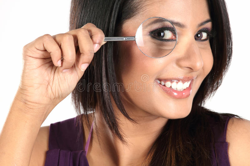 Download Girl Seeing Through Magnifying Glass Stock Image - Image of control, female: 13663429