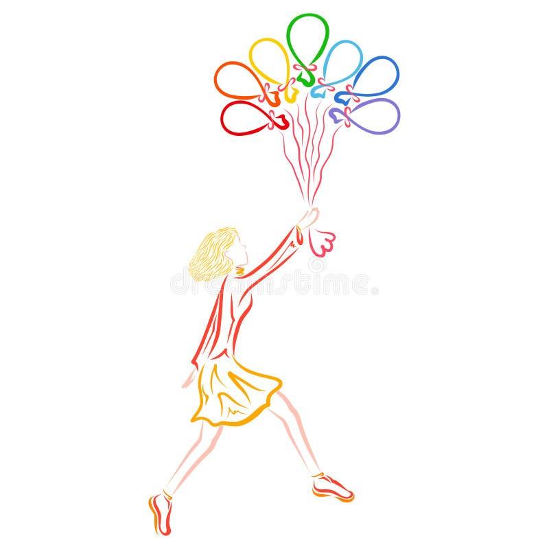 Girl with seven balloons, rainbow colors, wonderful flight stock illustration