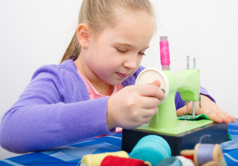 Download Girl sewing stock image. Image of color, beautiful, adorable - 30508833