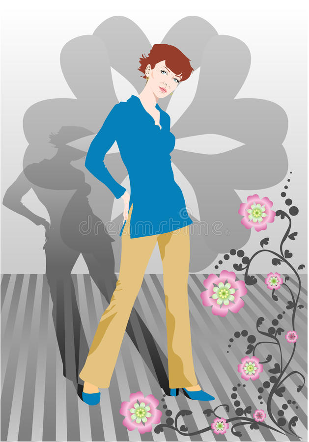 Download The Girl With A Shade And Flowers Stock Vector - Image: 10674193