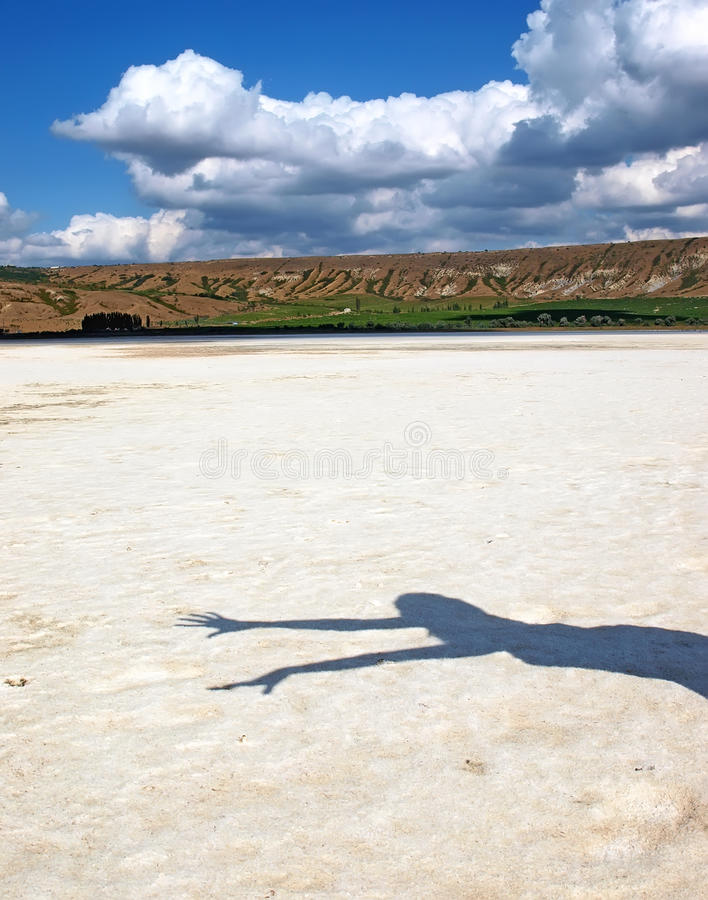 Download Girl shadow on a salt lake stock image. Image of hands - 16289755