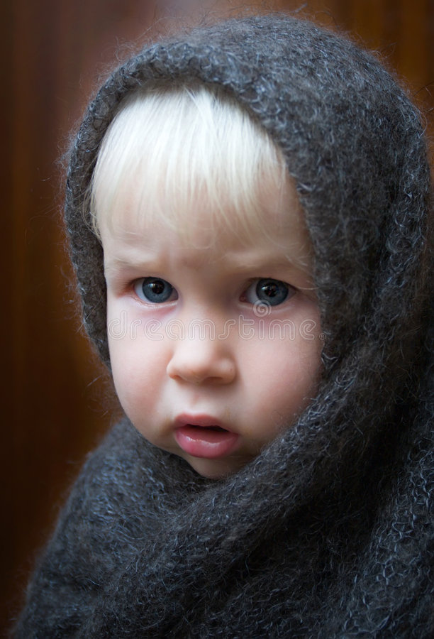 Girl in shawl stock photo