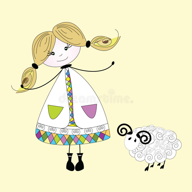 Girl with a sheep royalty free stock photography