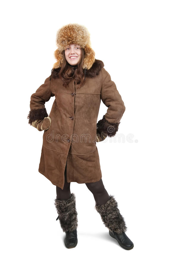 Download Girl In Sheepskin And Hat With Earflaps Stock Image - Image: 12227535