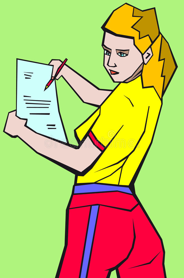 Download Girl With A Sheet Of Paper Stock Images - Image: 25792744