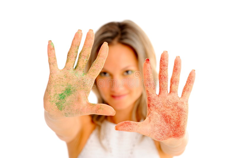 Download Girl With Shiny Eyeshadow On Her Hands Stock Photo - Image: 7059520
