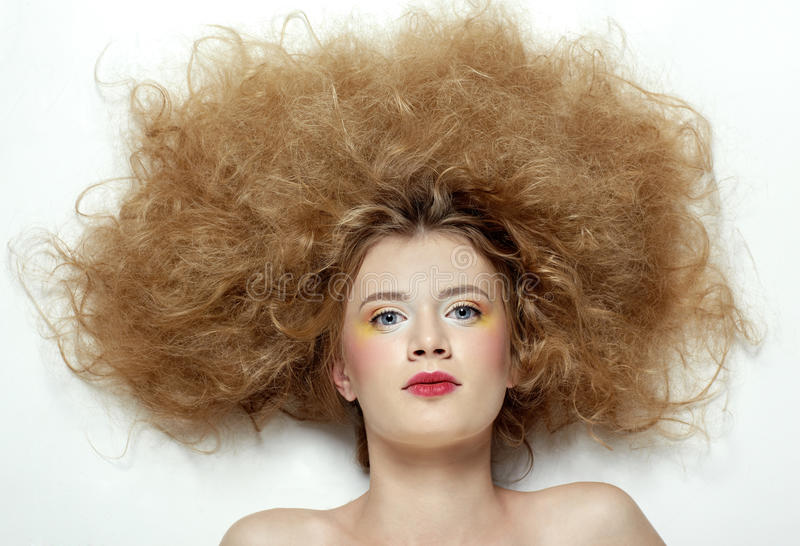 Download Girl with shock hair-do stock image. Image of model, charm - 13623405
