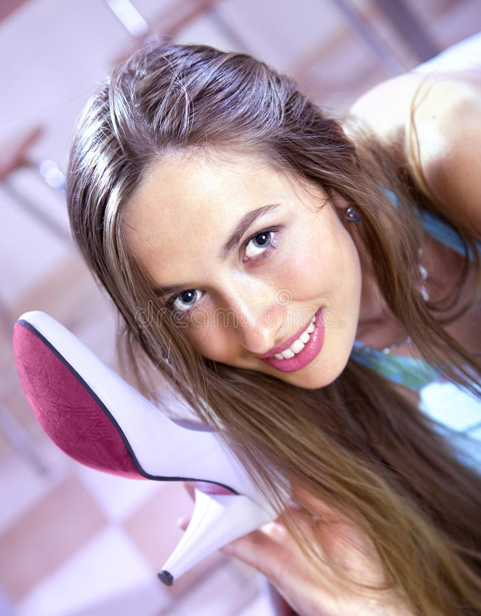 Download Girl with shoe stock image. Image of excited, beautiful - 20900713