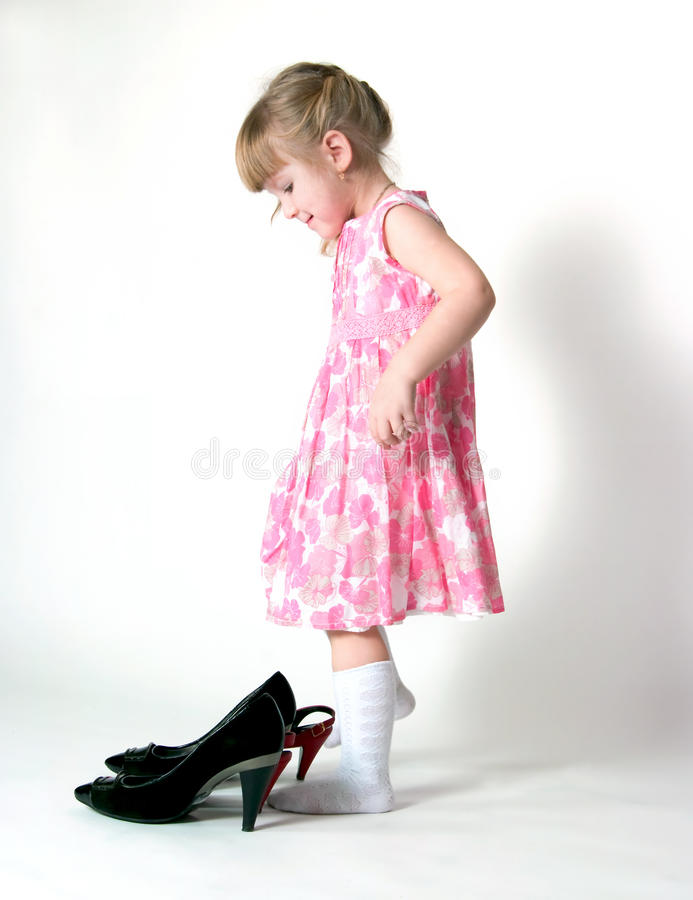 Download The girl and shoes stock photo. Image of footwear, child - 25318886