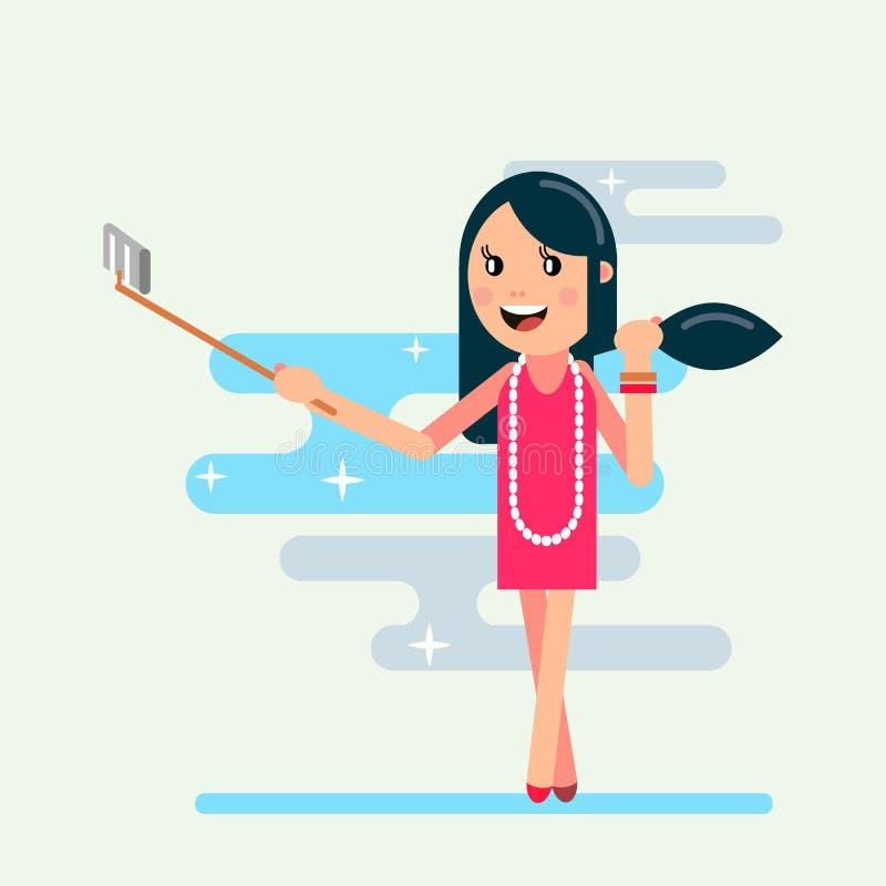 Girl shoot selfi royalty free illustration