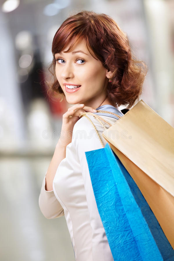 Girl in shop royalty free stock photography