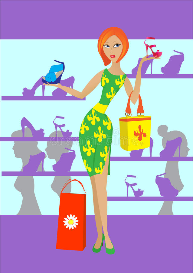 The Girl In Shop Royalty Free Stock Image