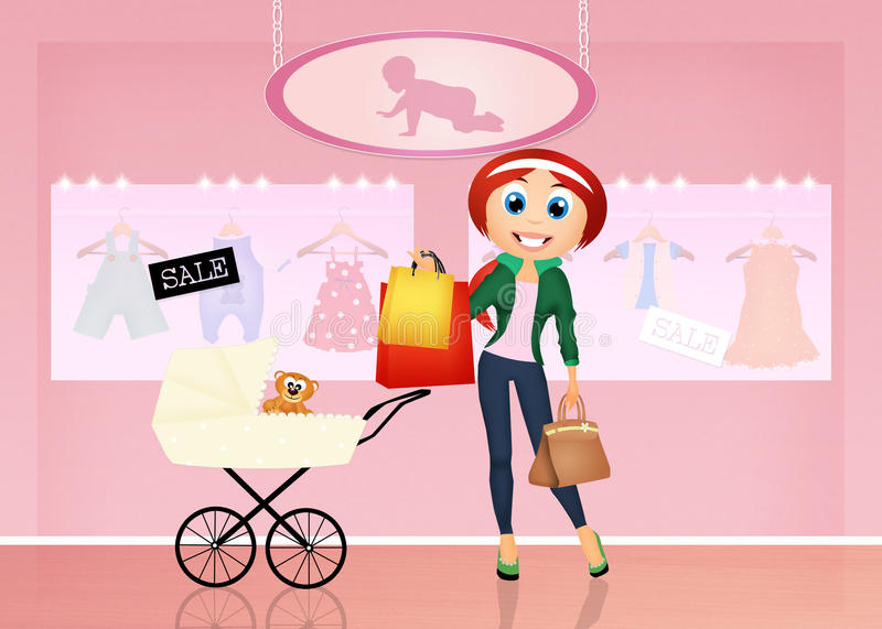Girl in the shop for babies stock illustration