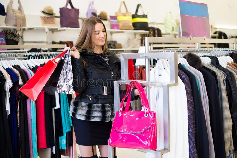 Girl in shoping mol stock images