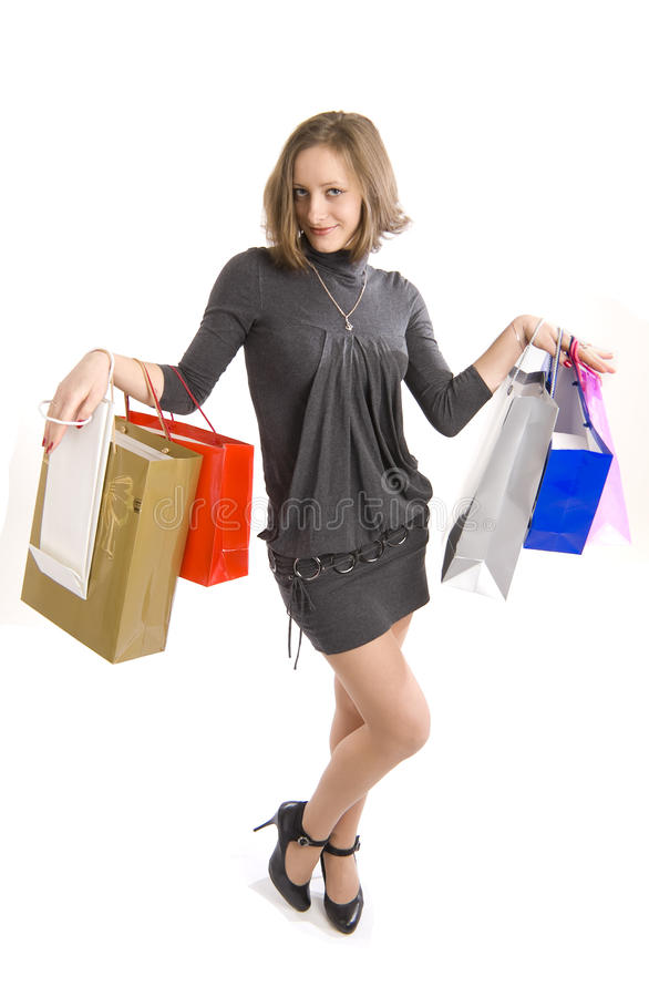 Girl shopping royalty free stock images