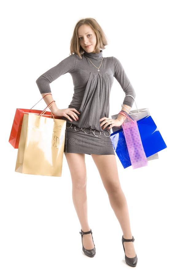 Girl shopping royalty free stock photos
