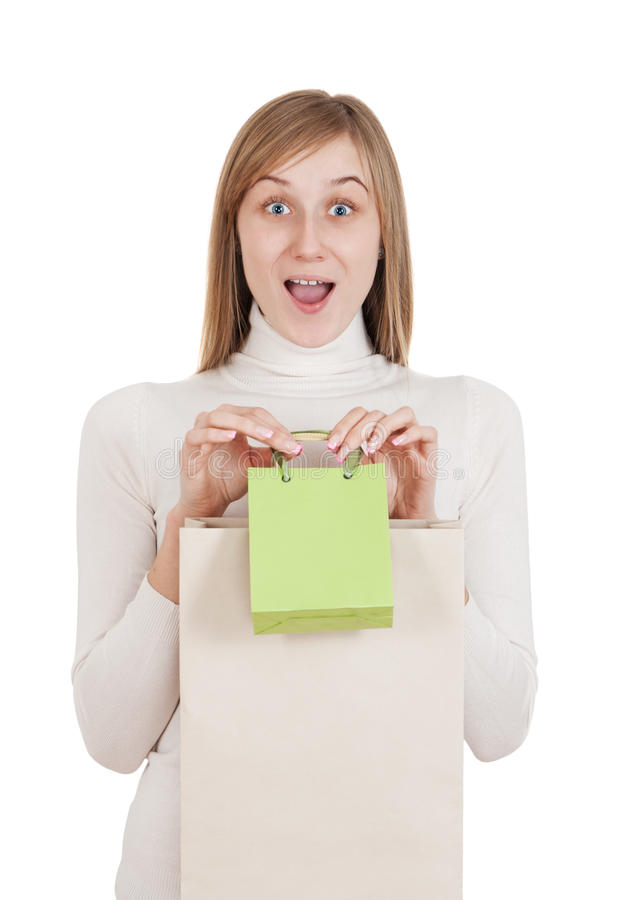 Girl with shopping royalty free stock images